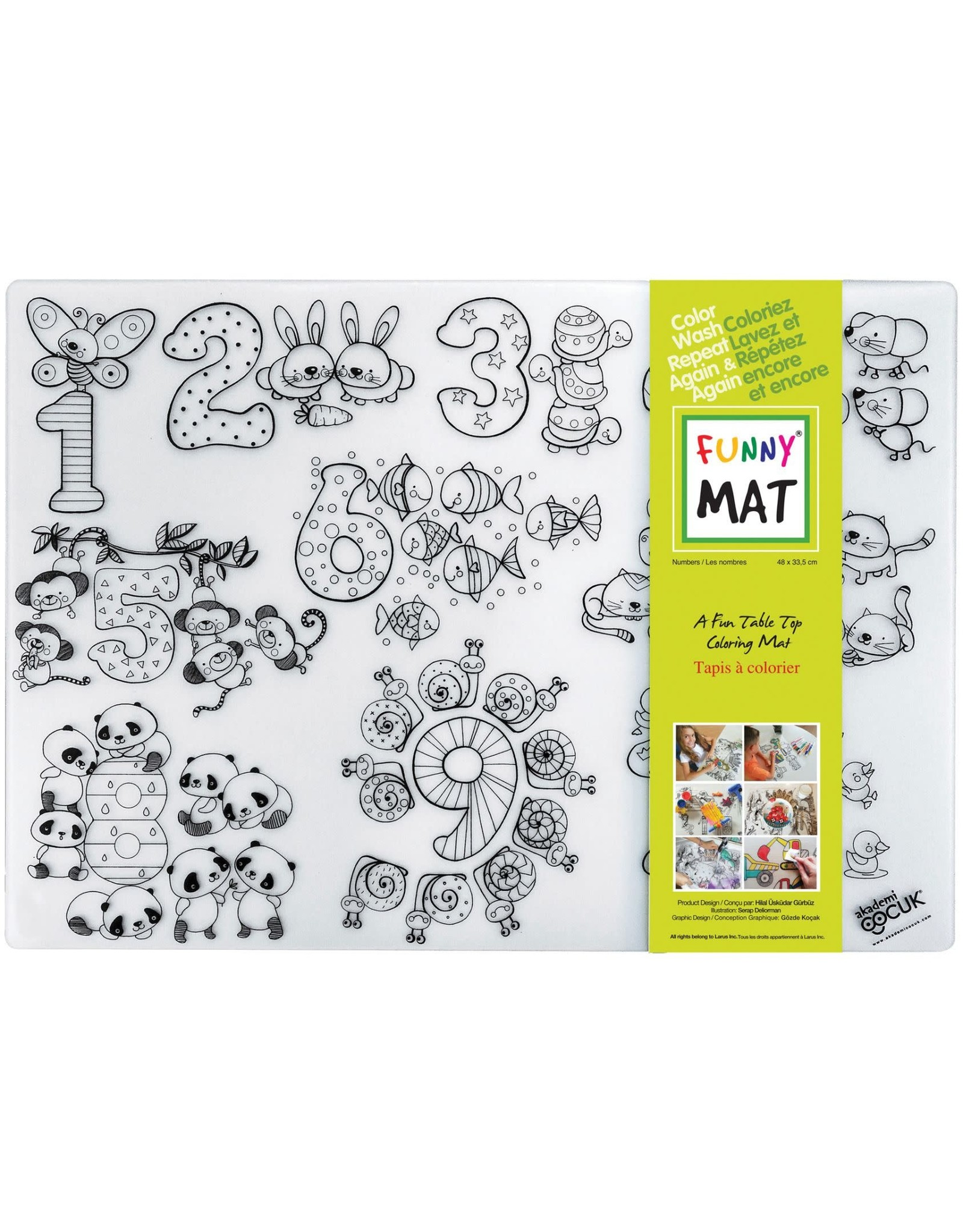 Funny Mat COLOURING MAT-REUSABLE, MEDIUM, NUMBERS (NUMBERS-M)