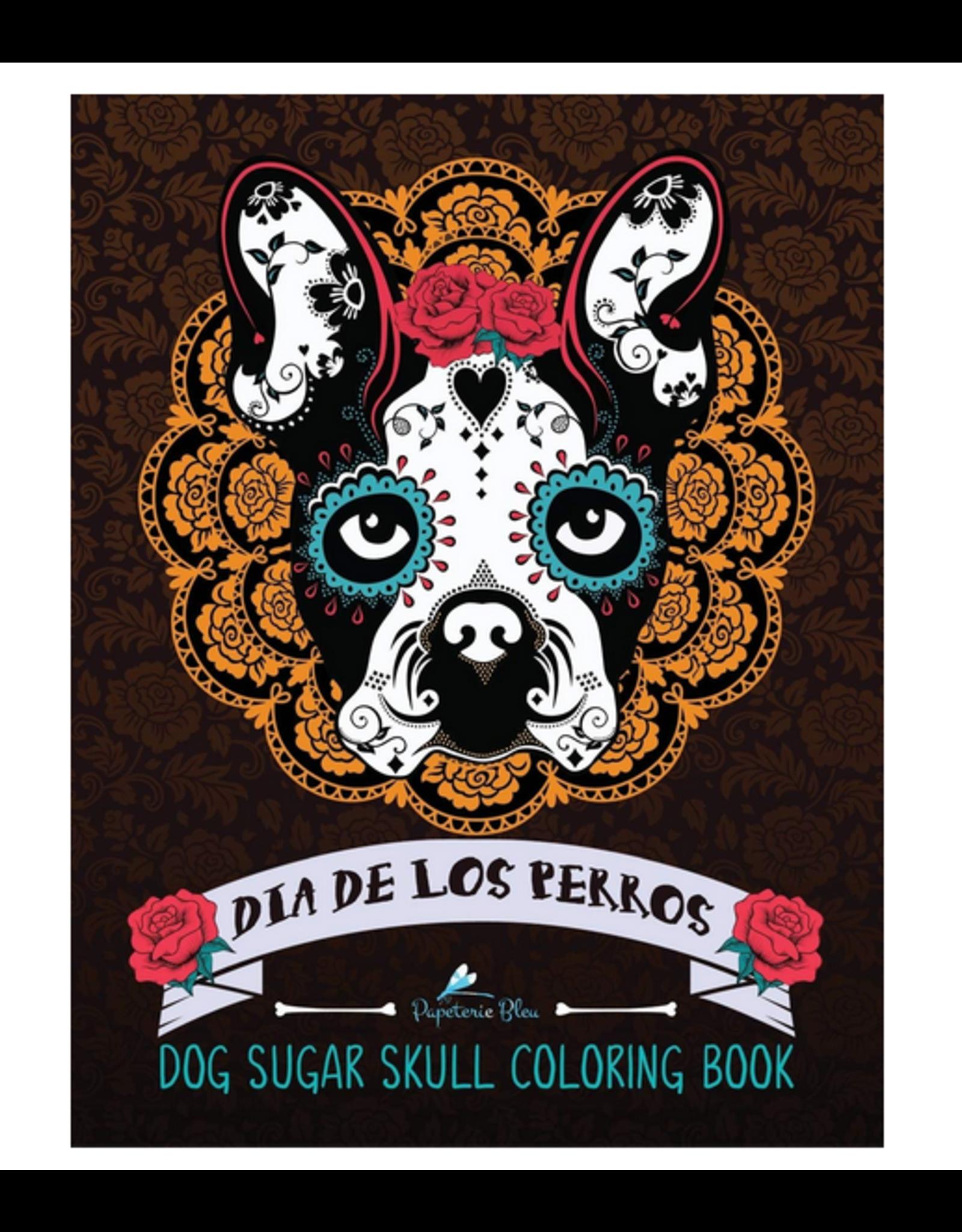 Papeterie Bleu Colouring Book for Adults, Dia de Los Perros (Dog Sugar Skulls)