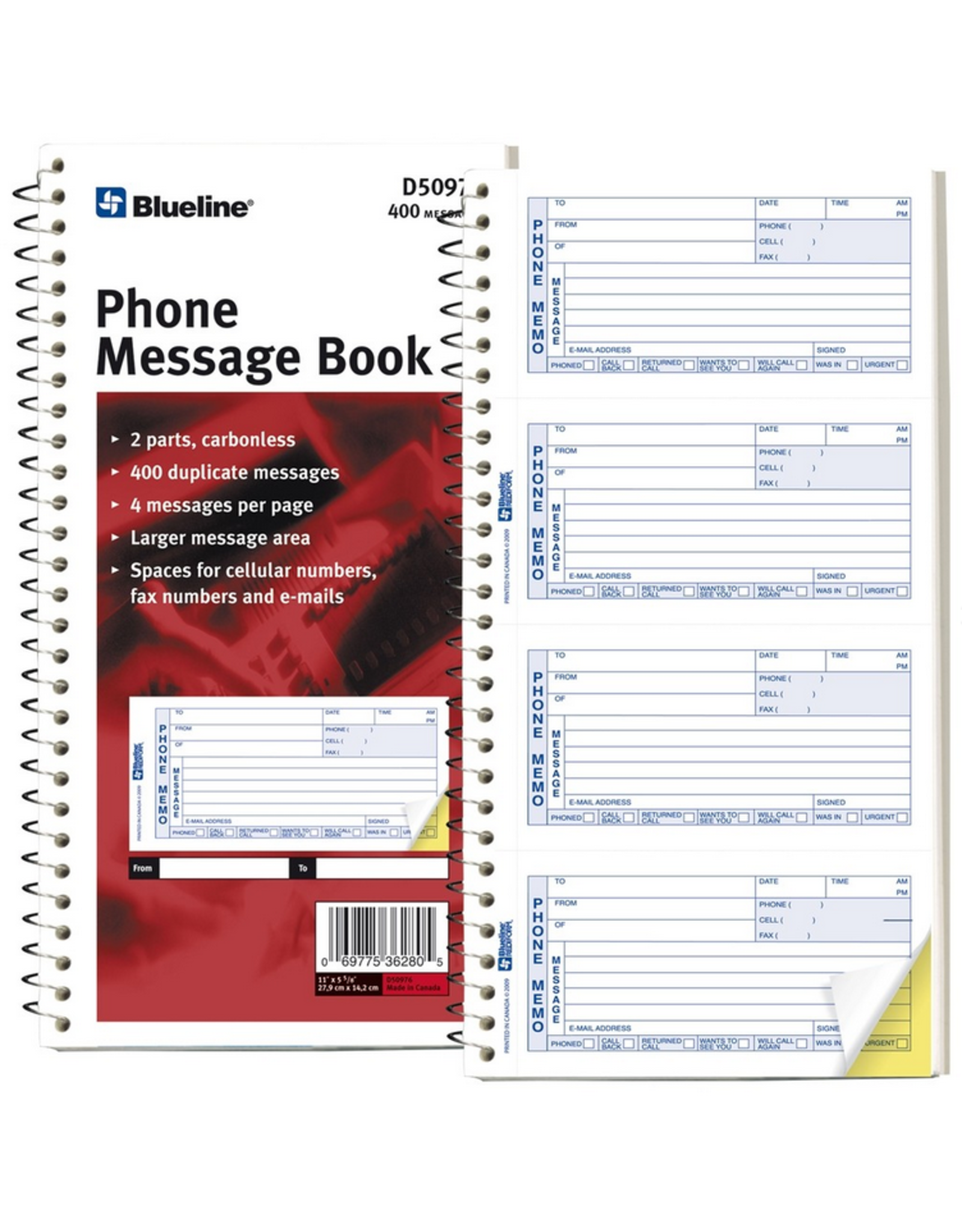 Blueline MESSAGE BOOK-11X5-11/16 NCR 400 MESSAGES, DUPLICATE ENGLISH 2 Pack