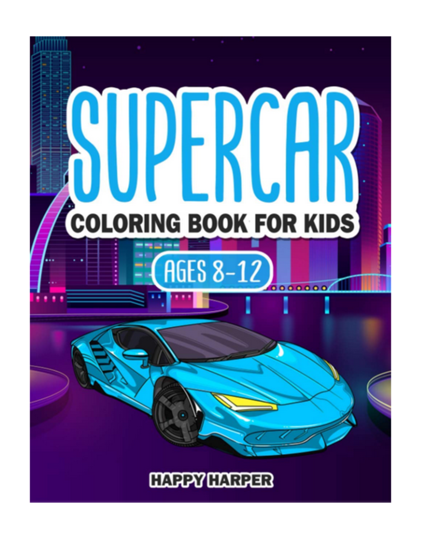 Happy Harper Colouring Book for Kids, Supercar