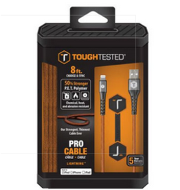 ToughTested Tough Tested Charge & Sync Braided Fabric Lightning MFI Cable 6ft