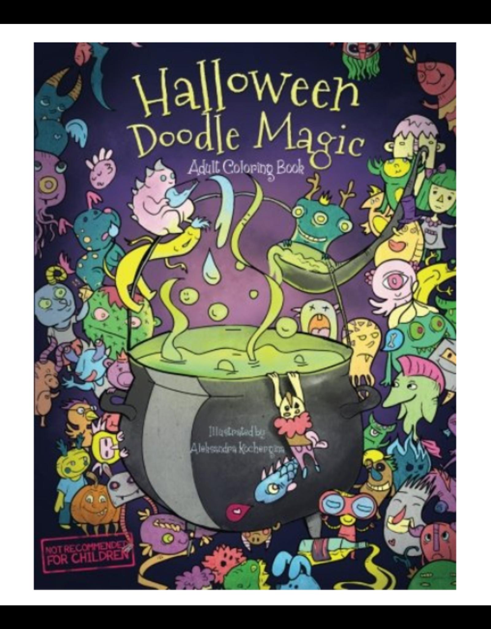 Okami Books Colouring Book for Adults, Halloween Doodle Magic