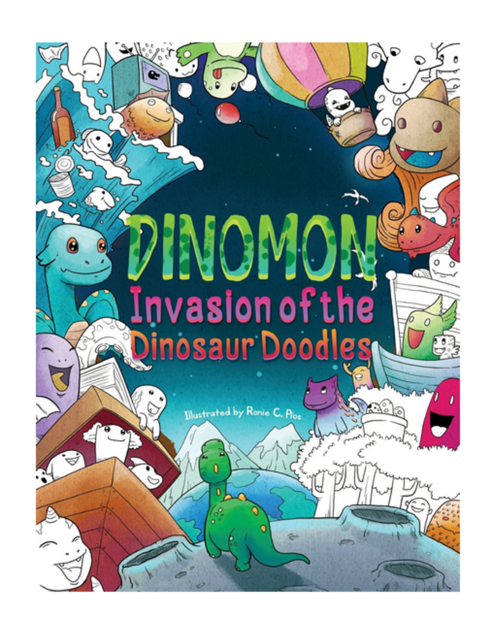 Julia Rivers Colouring Book, Dinomon - Invasion of the Dinosaur Doodles