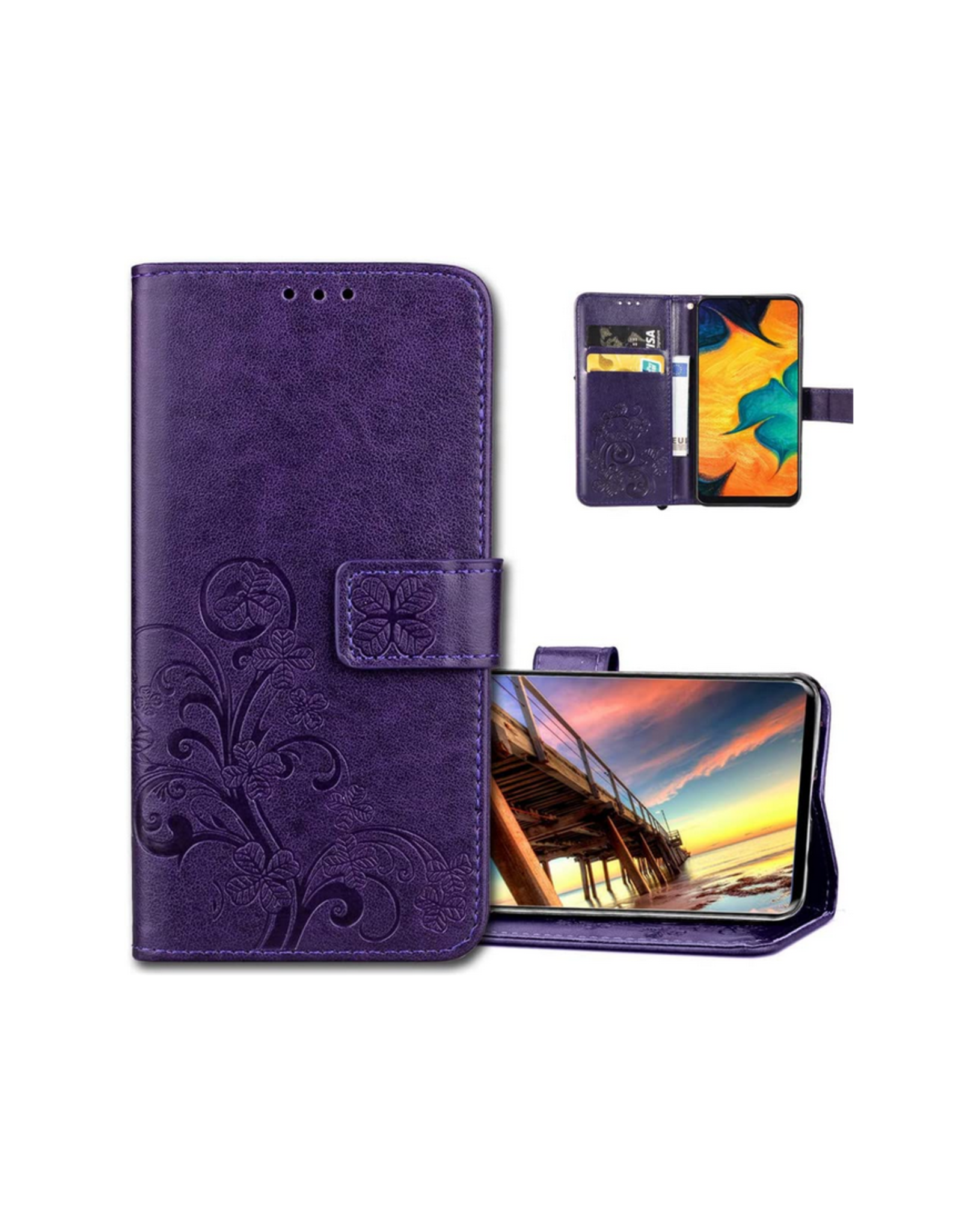 Samsung Galaxy A10S Leather Flip Wallet Case, Luck Clover Purple