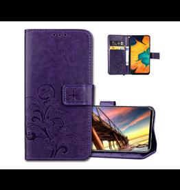 Samsung Galaxy A10S Leather Flip Wallet Case, Luck Clover Purple
