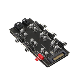 Splitter - 12V 4 Pin PWM & 5V 3 Pin ARGB with SATA 15 Pin Power 2in1 Hub