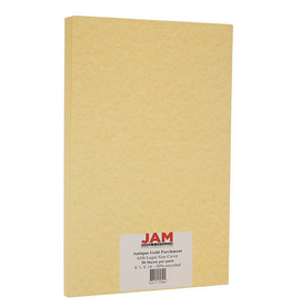 JAM Paper JAM Paper Parchment Legal Cardstock, 65lb Antique Gold Yellow Recycled, 50/Pack