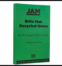 JAM Paper JAM Paper Legal Recycled Cardstock, Brite Hue Green, 50 Pack
