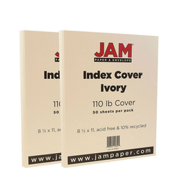 JAM Paper JAM Paper Vellum Bristol Index Cardstock, 8.5 x 11, 110lb Ivory, 2 Packs of 50