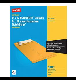 Staples Staples Kraft Catalogue Envelopes with QuickStrip Closure - 9 x 12 - Brown - 100 Pack