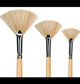 Golden Maple Paint Brushes - Fan Hog Hair 3 Piece Set