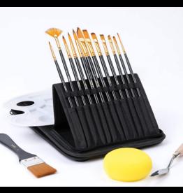 Paint Brush Set with Case, Palette Knife, Sponge 12 pieces