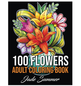 Jade Summer Colouring Book for Adults, 100 Flowers