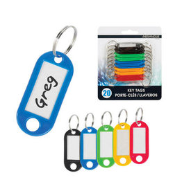 Merangue KEY TAGS-PLASTIC ASSORTED WITH SPLIT RING, 20/PACK