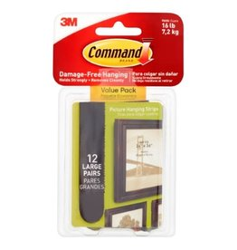 3M PICTURE HANGING STRIPS-COMMAND ADHESIVE, LARGE, BLACK 12/PK