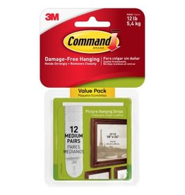 3M PICTURE HANGING STRIPS-COMMAND ADHESIVE, MEDIUM, 12/PACK