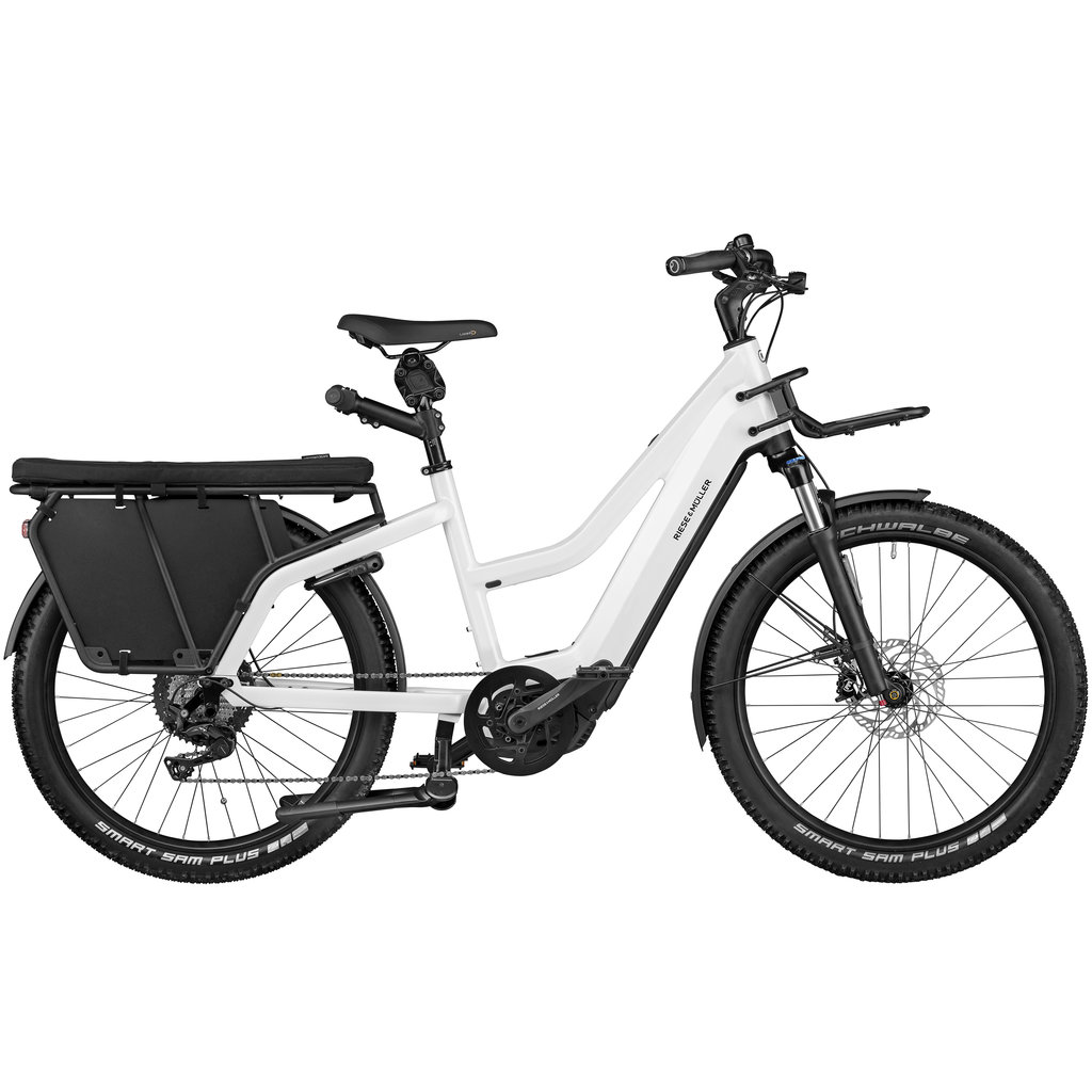 Riese & Muller Riese & Muller Multicharger Mixte GT Light, Pearl White, 47cm, 625wh Battery, Purion Display, Safety Bar Kit, Cargo Front Carrier