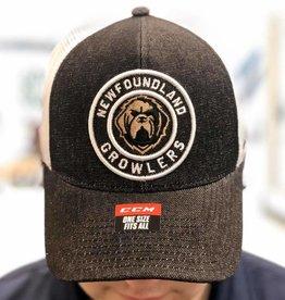 CCM ECHL CCM Circle Logo Mesh Hat Growlers Black/White Adjustable