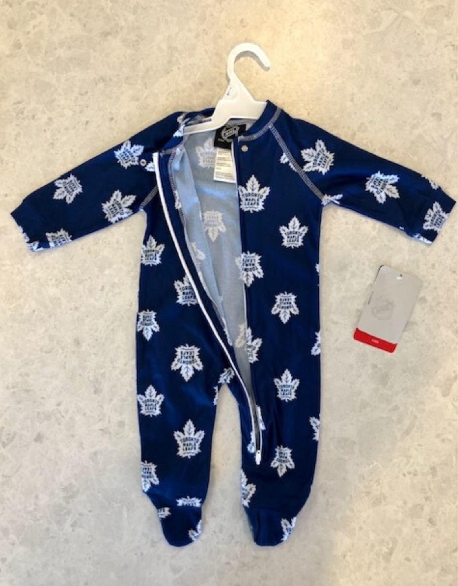 NHL Child Raglan Zip Up Coverall Onesie Maple Leafs