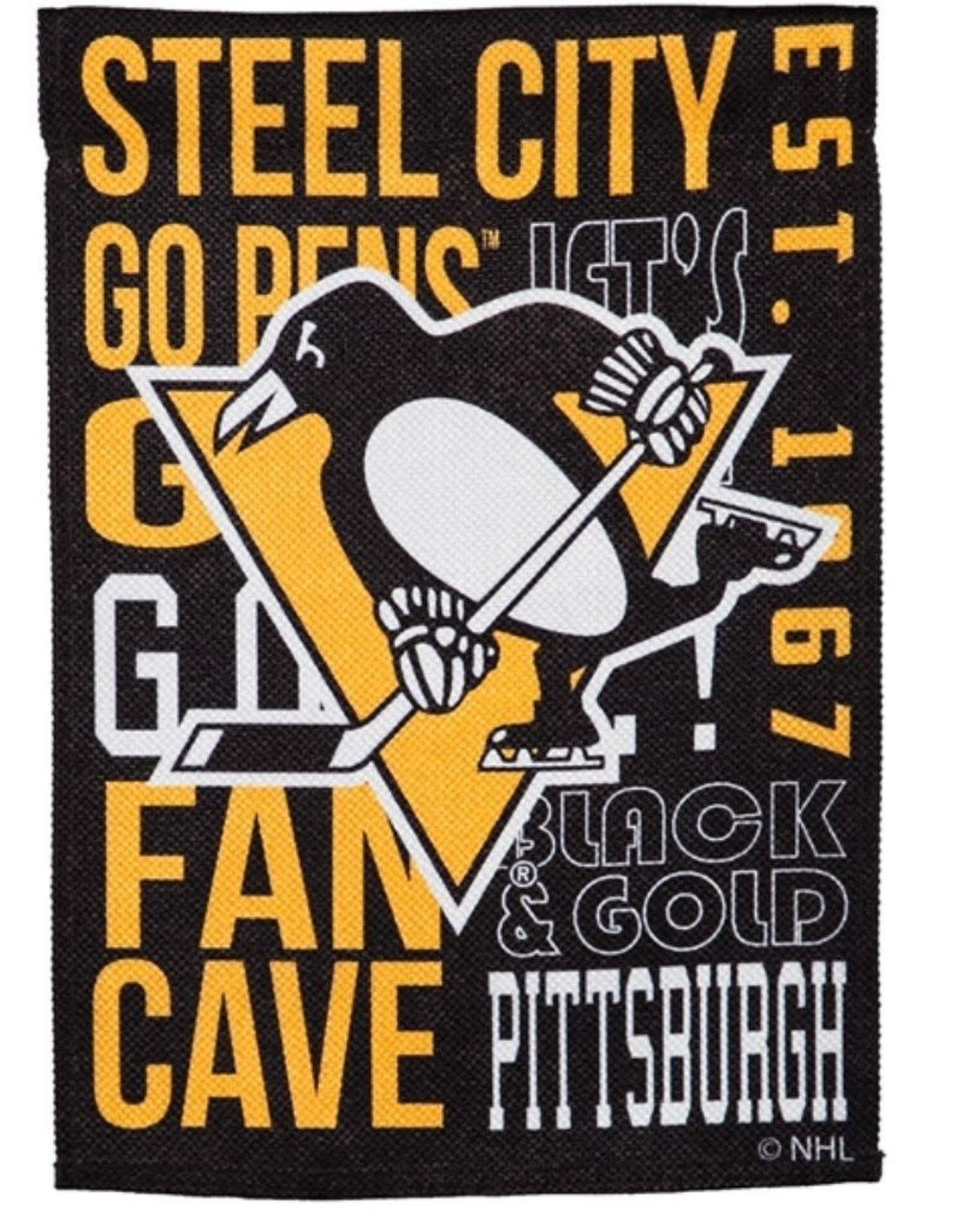 "Team Sports America Fan Rules House  Flag 29"" x 43"" Pittsburgh Penguins"