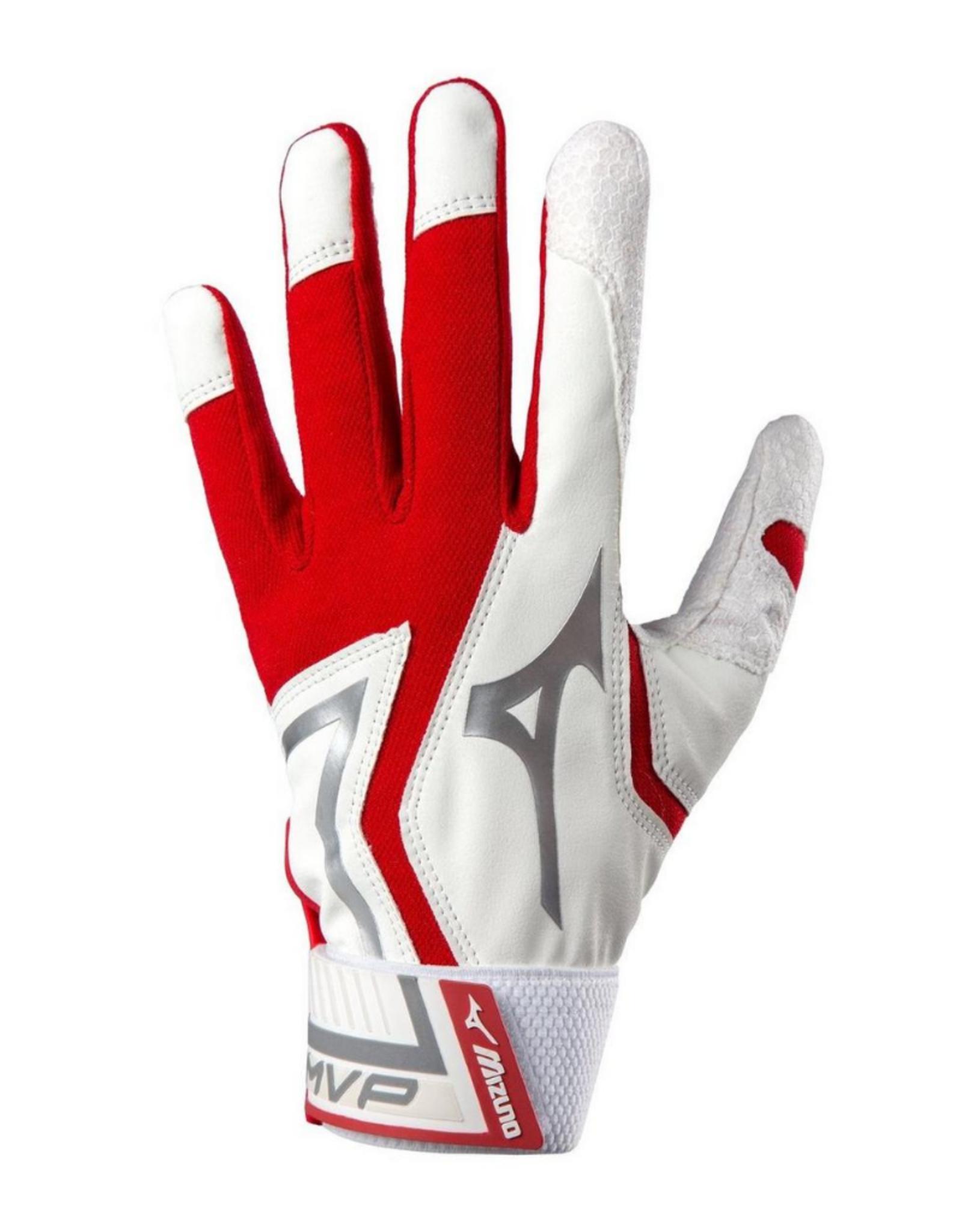 Mizuno MVP Adult Batting Gloves Red/White