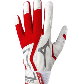 Mizuno MVP Adult Batting Gloves Red/White