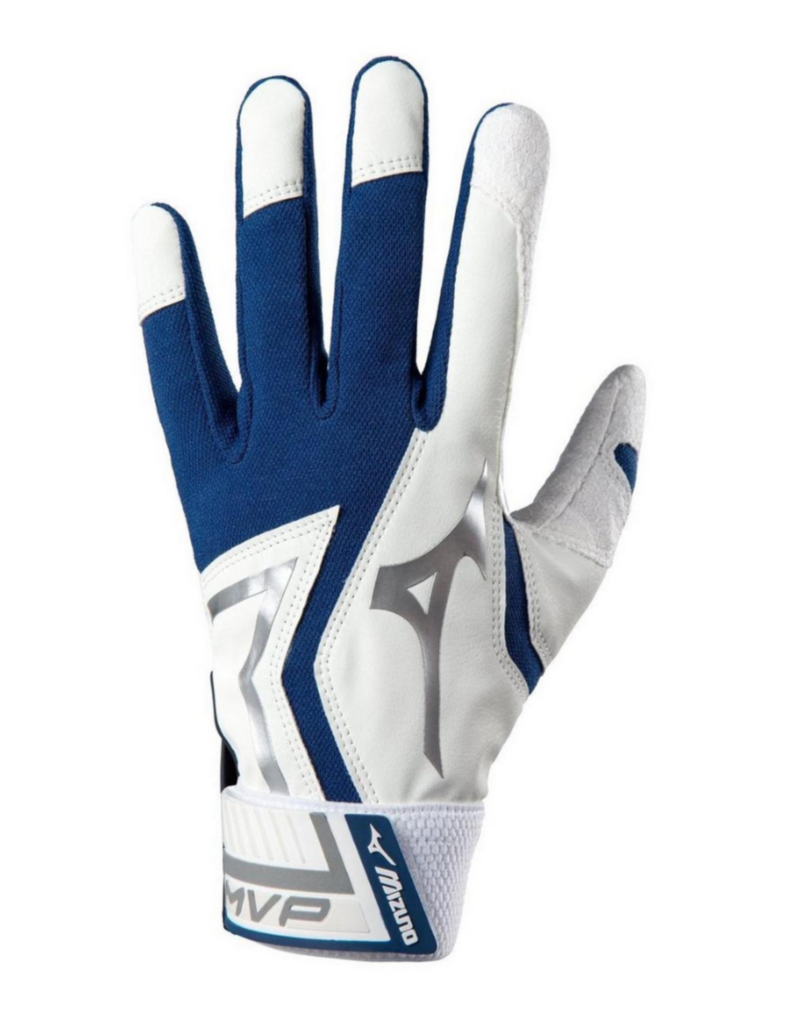 Mizuno MVP Adult Batting Gloves Navy/White