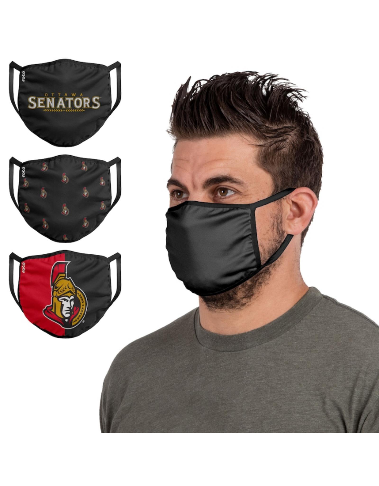 FOCO FOCO Adult Face Cover 3 Pack Ottawa Senators