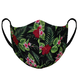 AK Reusable Fabric Mask My Tropical Estate (Black with Flowers)