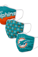 FOCO FOCO Adult Gametime Face Cover 3 Pack Miami Dolphins