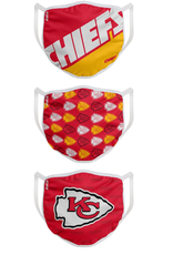 FOCO FOCO Adult Gametime Face Cover 3 Pack Kansas City Chiefs