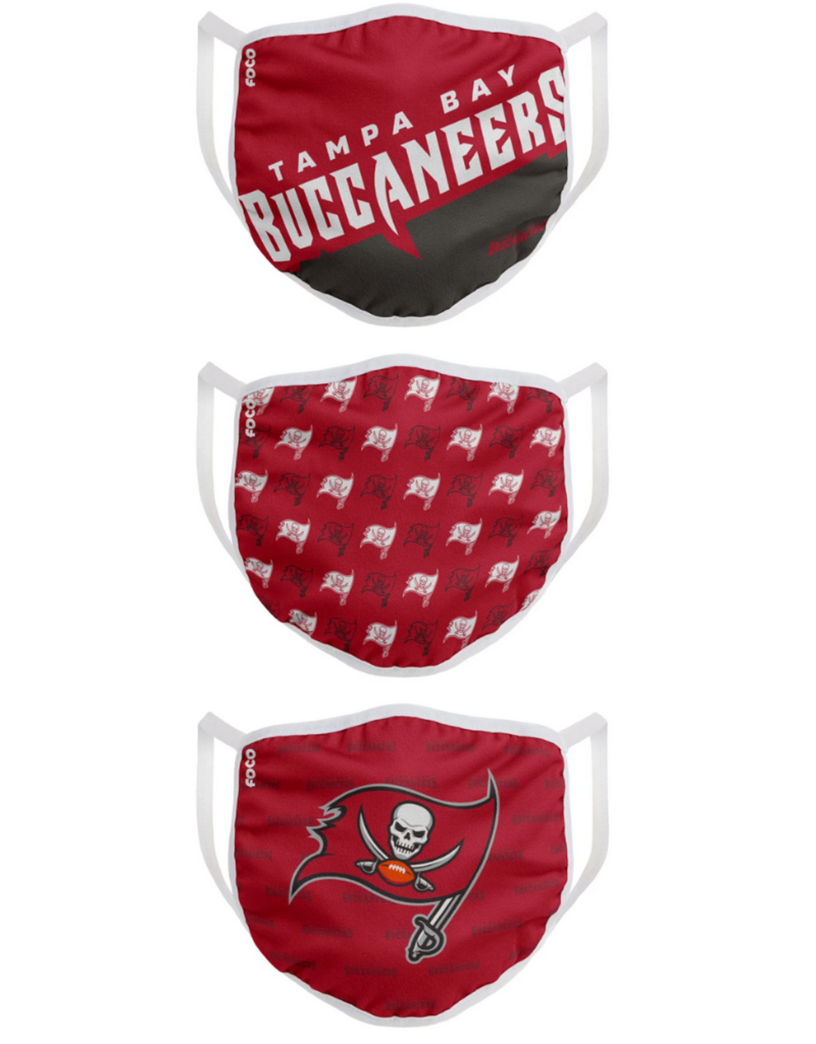 FOCO FOCO Adult Gametime Face Cover 3 Pack Tampa Bay Buccaneers