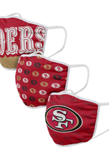 FOCO FOCO Adult Gametime Face Cover 3 Pack San Francisco 49ers