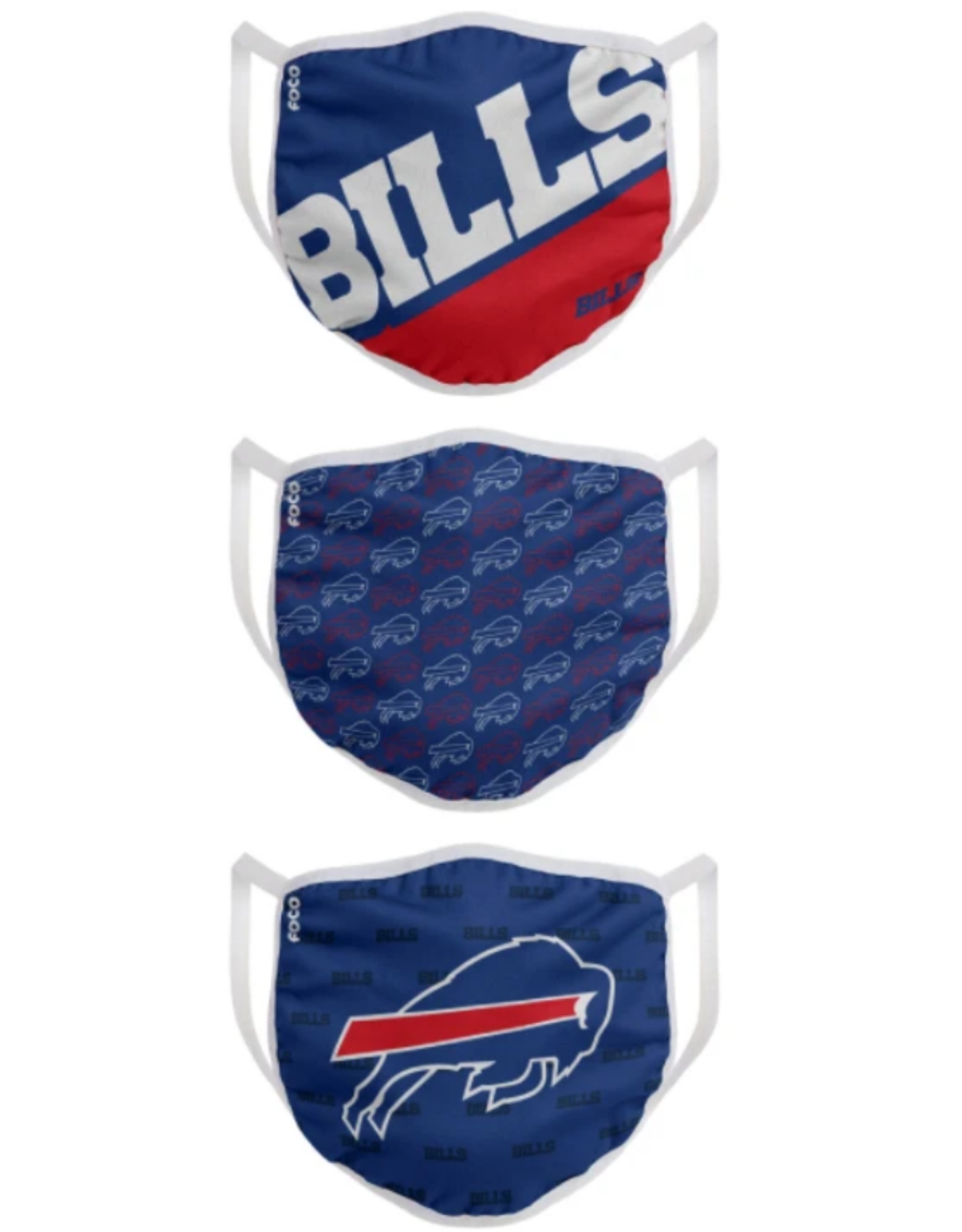 FOCO FOCO Adult Gametime Face Cover 3 Pack Buffalo Bills