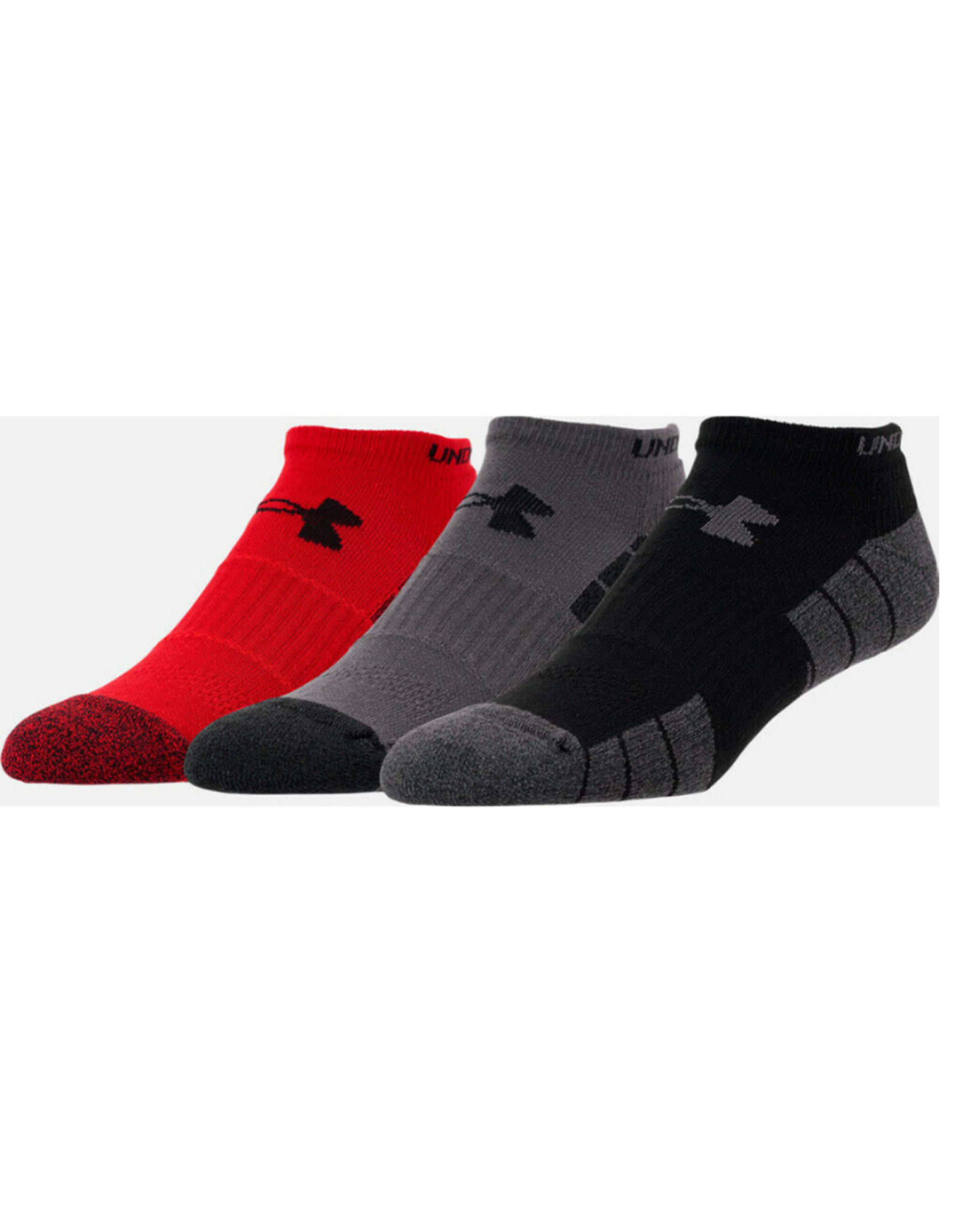 Under Armour Elevated  No Show 3 pack Socks Black/Red/Grey