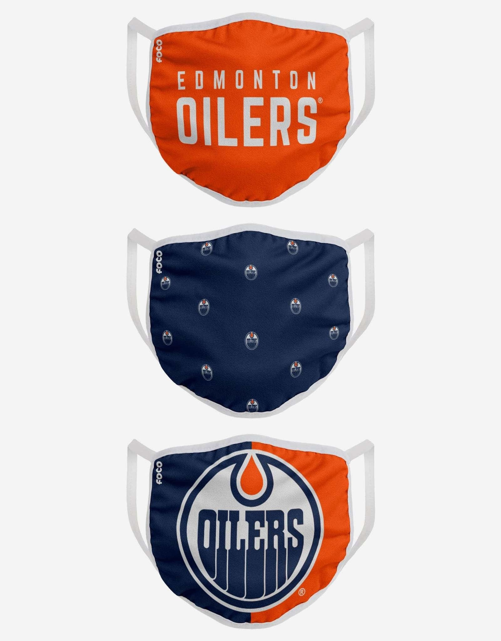 FOCO FOCO Youth Face Cover 3 Pack Edmonton Oilers