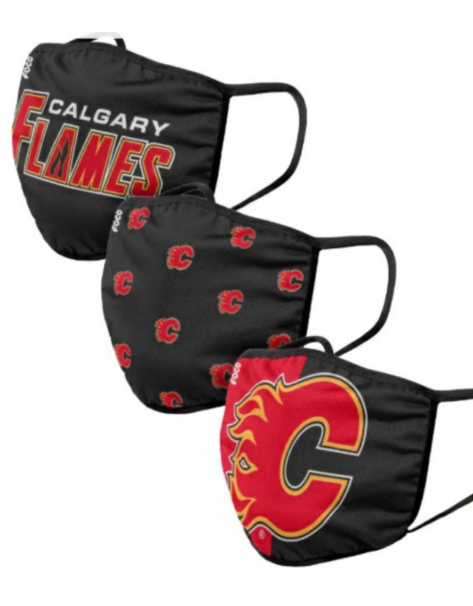 FOCO FOCO Youth Face Cover 3 Pack Calgary Flames
