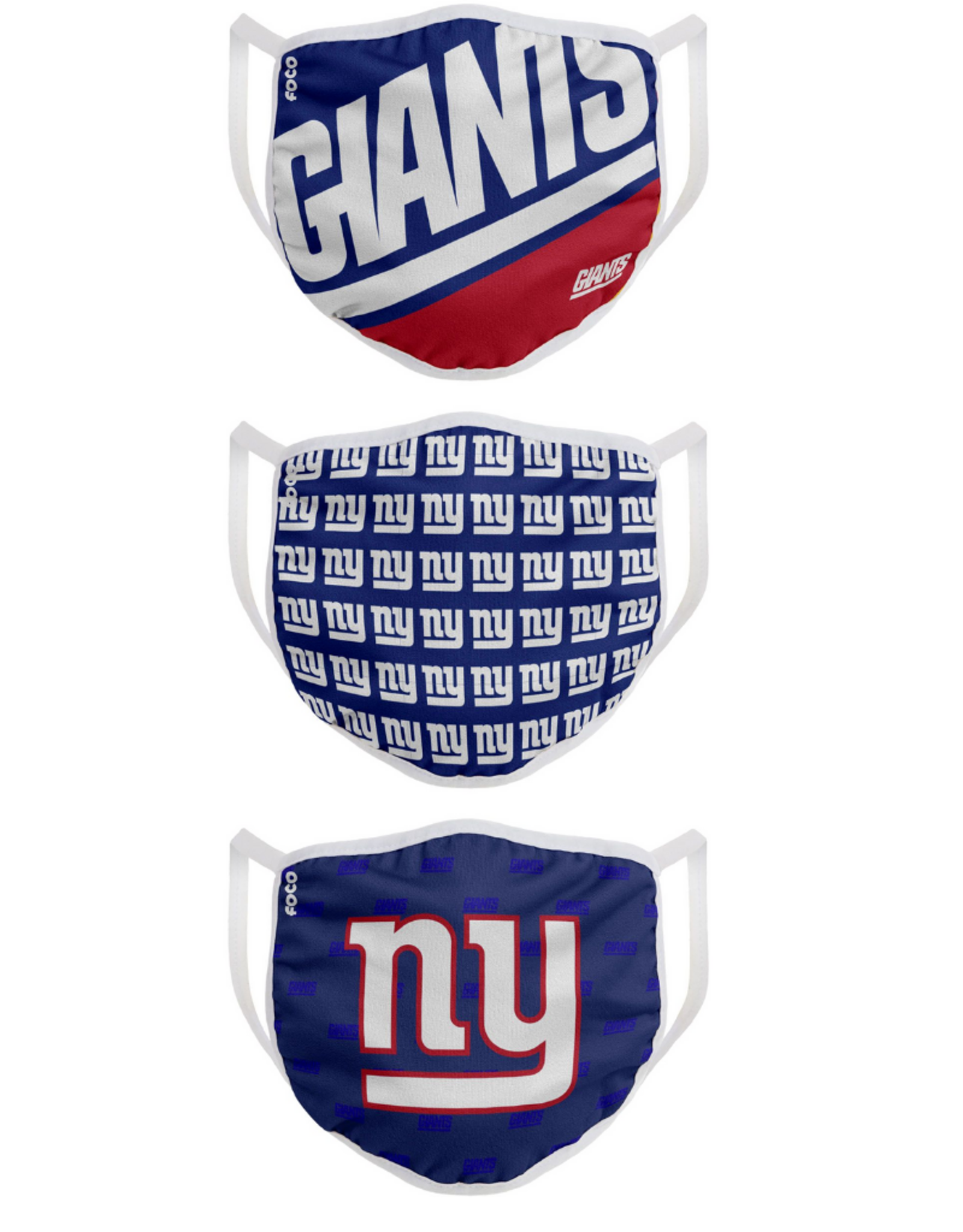 FOCO FOCO Adult Gametime Face Cover 3 Pack New York Giants