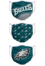 FOCO FOCO Adult Gametime Face Cover 3 Pack Philadelphia Eagles
