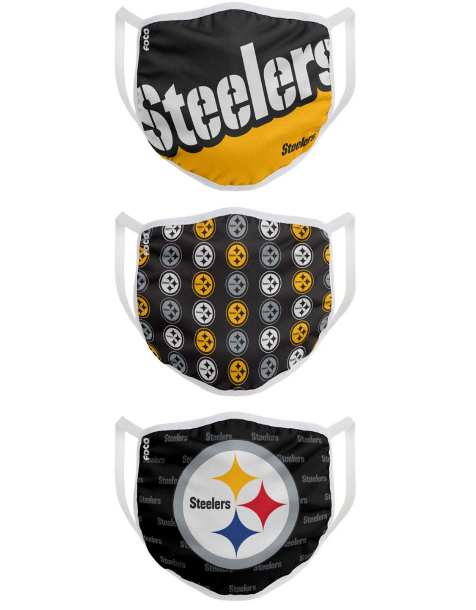 FOCO FOCO Adult Face Cover 3 Pack Pittsburgh Steelers