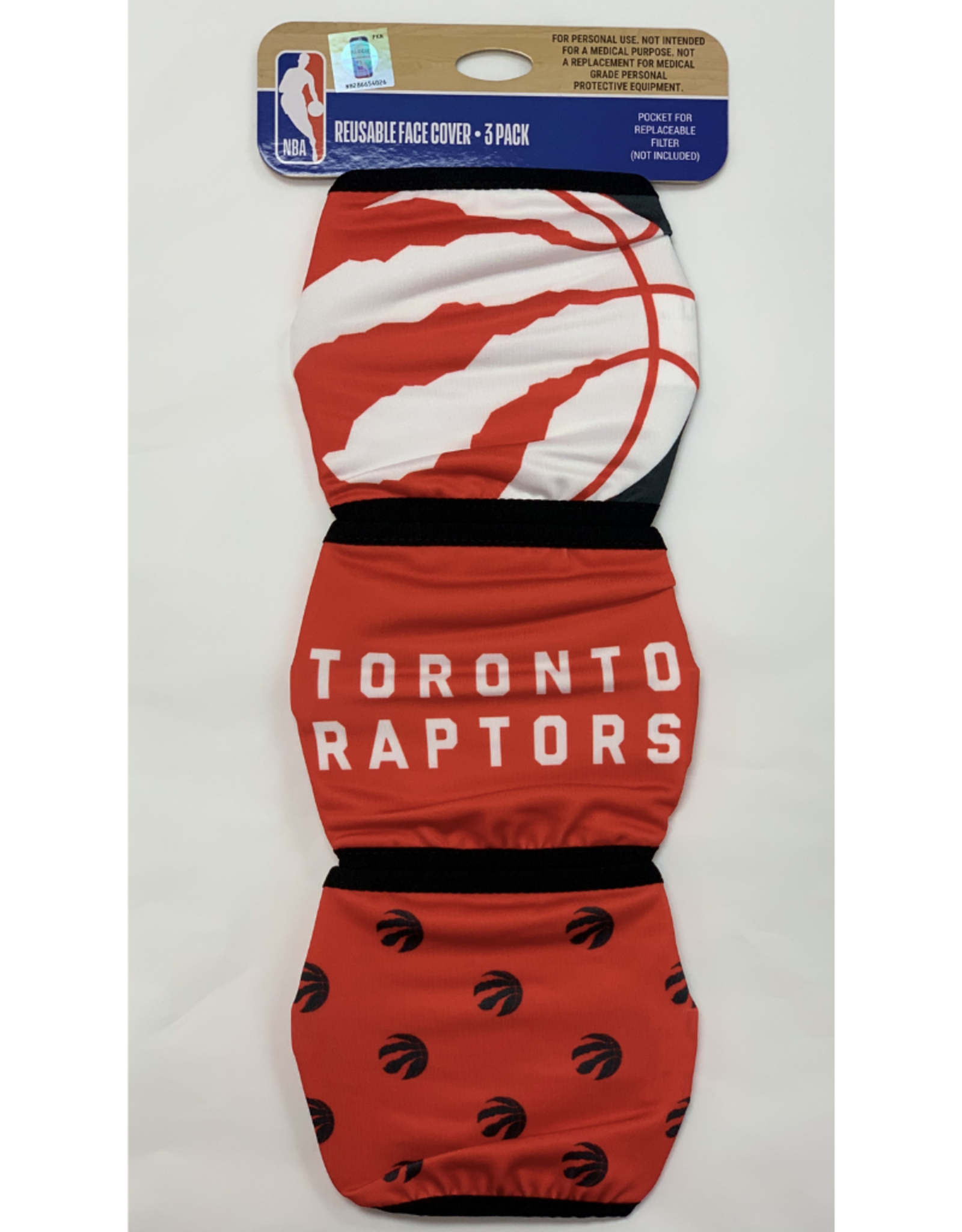 FOCO FOCO Adult Face Cover 3 Pack Toronto Raptors