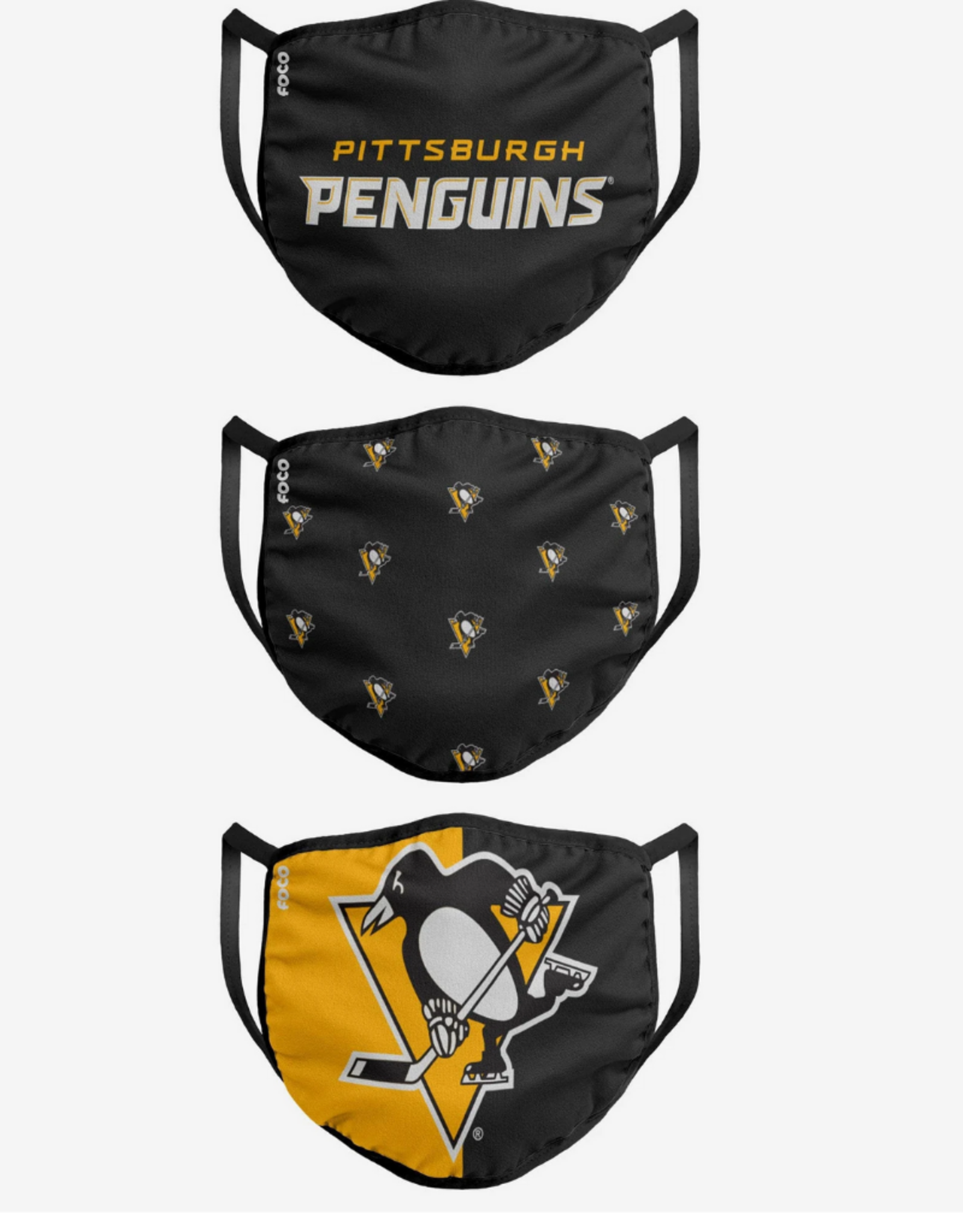 FOCO FOCO Youth Face Cover 3 Pack Pittsburgh Penguins