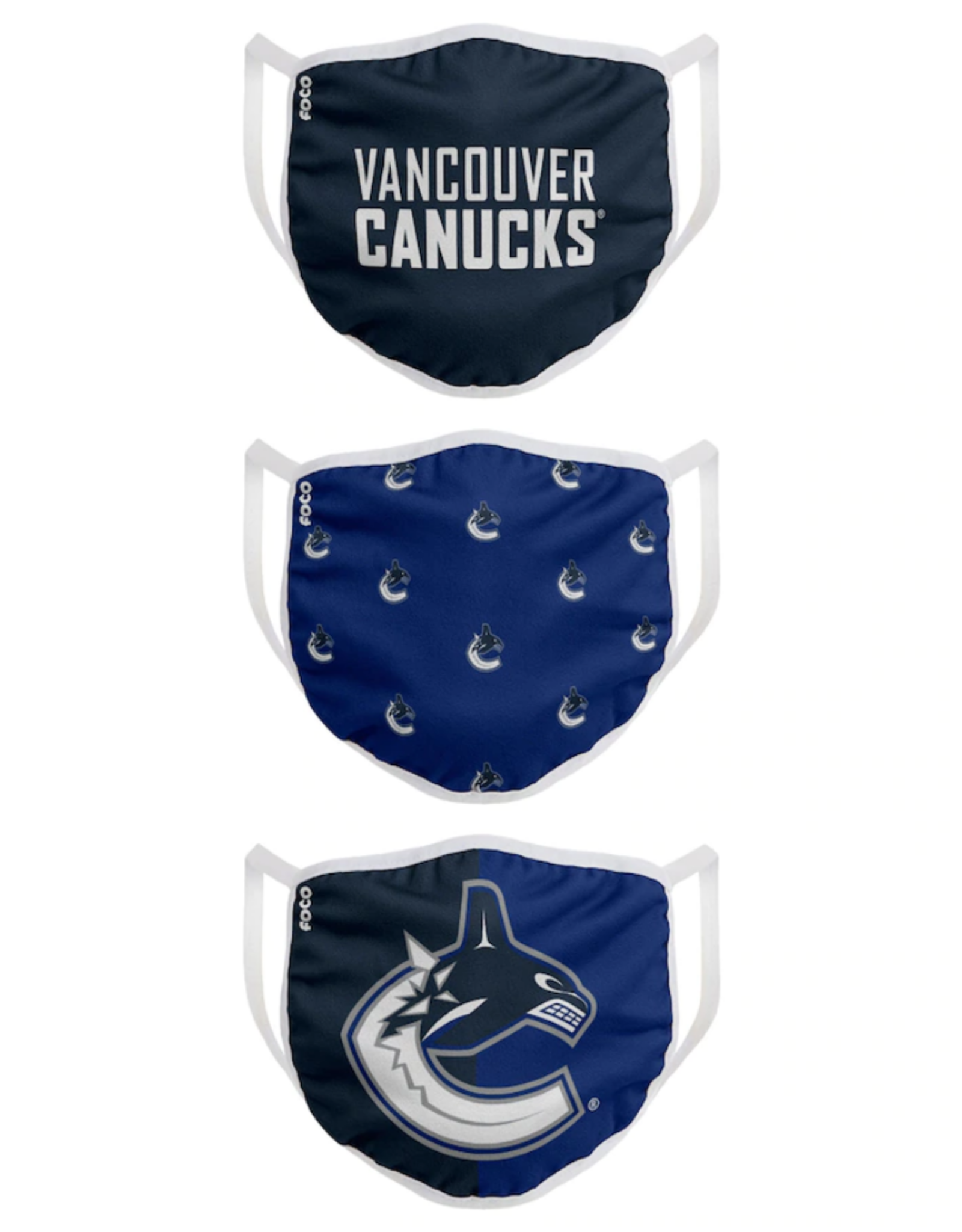 FOCO FOCO Youth Face Cover 3 Pack Vancouver Canucks