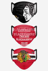 FOCO FOCO Adult Matchday Face Cover 3 Pack Chicago Blackhawks