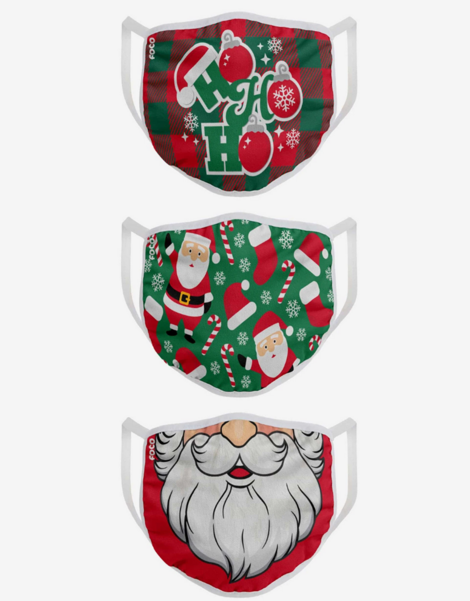 FOCO FOCO Adult Christmas Face Cover 3 Pack