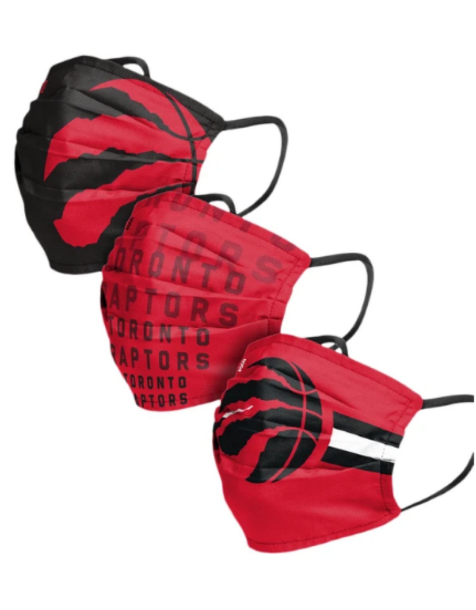 FOCO FOCO Adult Matchday Pleated Face Cover 3 Pack Toronto Raptors