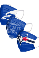 FOCO FOCO Adult Matchday Pleated Face Cover 3 Pack Toronto Blue Jays