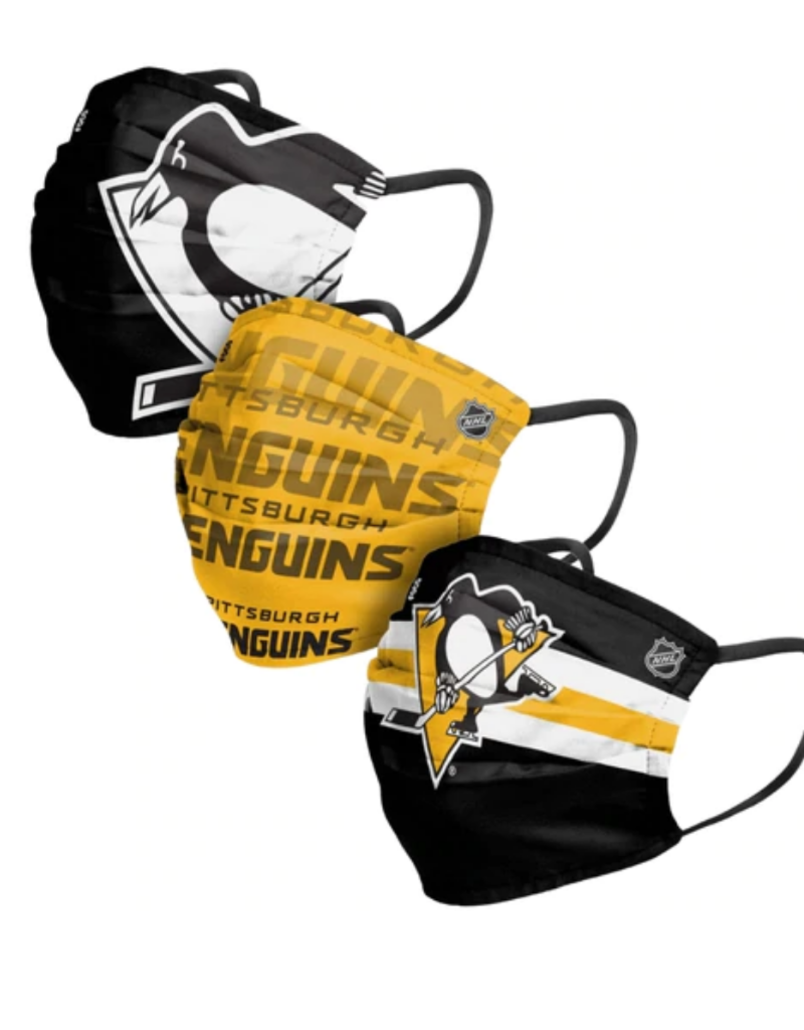 FOCO FOCO Adult Matchday Pleated Face Cover 3 Pack Pittsburgh Penguins