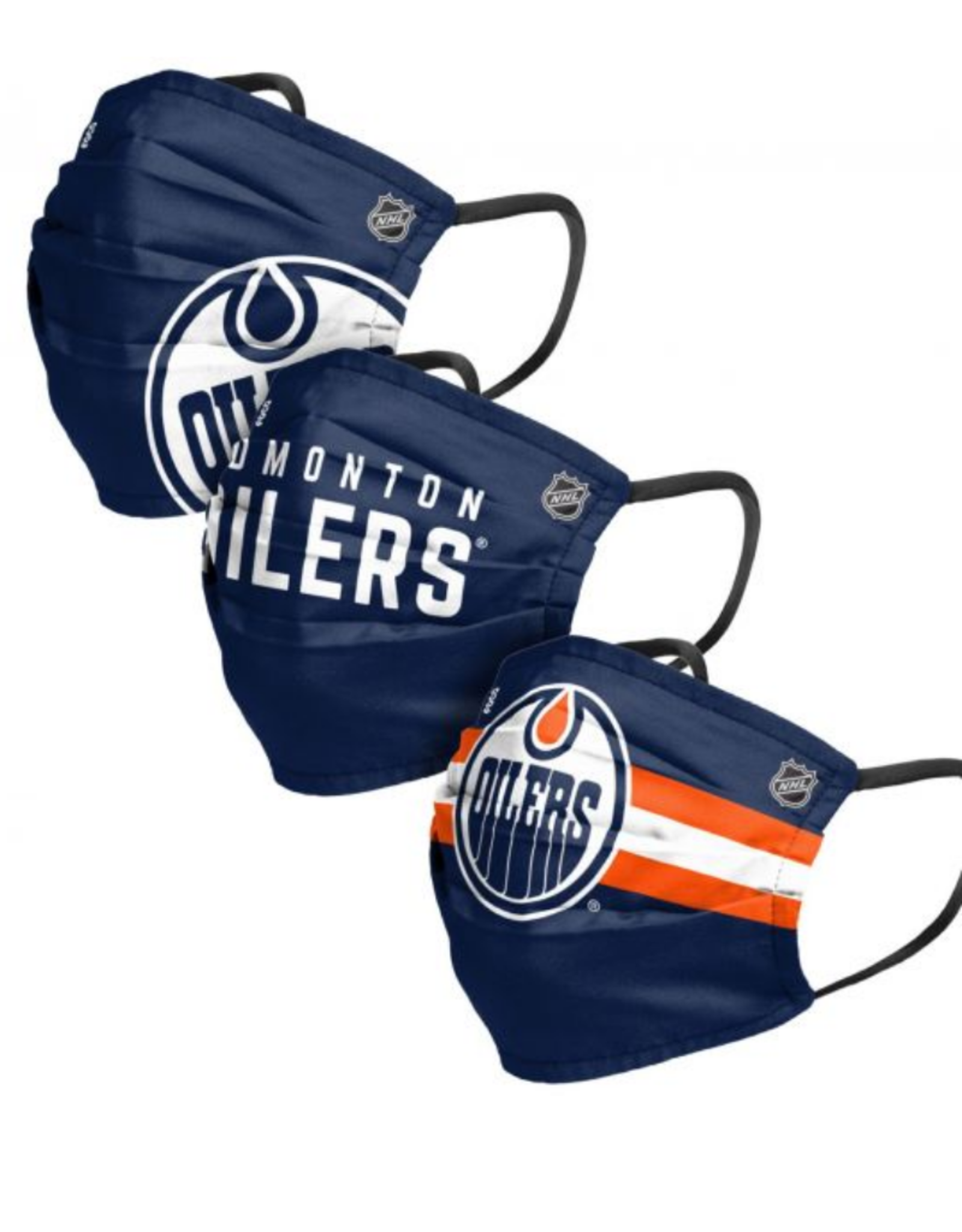 FOCO FOCO Adult Matchday Pleated Face Cover 3 Pack Edmonton Oilers
