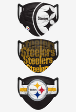 FOCO FOCO Adult Matchday Pleated Face Cover 3 Pack Pittsburgh Steelers